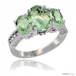 14K White Gold Ladies 3-Stone Oval Natural Green Amethyst Ring Diamond Accent