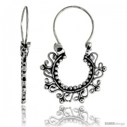 "Sterling Silver Filigree Bali Earrings w/ Beads & Swirls, 15/16"" (22 mm) tall"