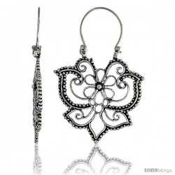 "Sterling Silver Filigree Bali Earrings w/ Beads & Floral Design, 1 7/16"" (36 mm) tall"