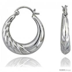 """Sterling Silver High Polished Hoop Earrings, 1"""" Long"""