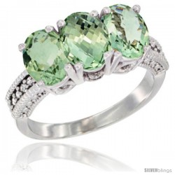 14K White Gold Natural Green Amethyst Ring 3-Stone 7x5 mm Oval Diamond Accent