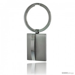 Stainless Steel Satin Finish Engravable Keychain Key Tag Key Fob Key Ring, 2 1/2 in (63 mm) tall