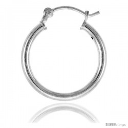 Sterling Silver Tube Hoop Earrings with Post-Snap Closure 2mm thick 11/16 in round