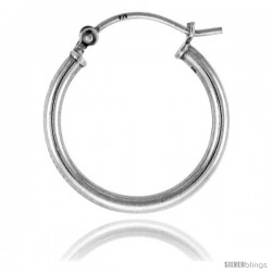 Sterling Silver Tube Hoop Earrings with Post-Snap Closure 2mm thick 3/4 in round