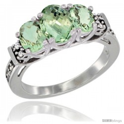 14K White Gold Natural Green Amethyst Ring 3-Stone Oval with Diamond Accent