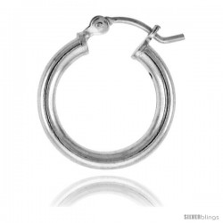 Sterling Silver Tube Hoop Earrings with Post-Snap Closure 2.5mm 5/8 in round