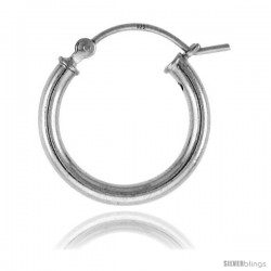 Sterling Silver Tube Hoop Earrings with Post-Snap Closure 2.5mm 11/16 in round
