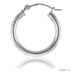 Sterling Silver Tube Hoop Earrings with Post-Snap Closure 2.5mm 13/16 in round