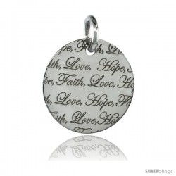 Sterling Silver FAITH LOVE HOPE Round Pendant, 30mm (1 3/16 in) wide