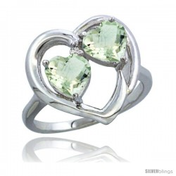 14k White Gold 2-Stone Heart Ring 6mm Natural Green Amethyst Stones Diamond Accent, Diamond Accent