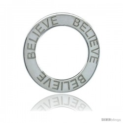 Sterling Silver BELIEVE Open Circle Disc Pendant, 21mm (13/16 in) wide
