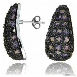 """Sterling Silver 1"""" (25 mm) tall Jeweled Pear-shaped Post Earrings, Rhodium Plated w/ 2mm Synthetic Amethyst Stones"""