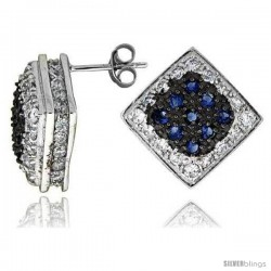 "Sterling Silver 3/4"" (19 mm) tall Jeweled Diamond-shaped Post Earrings, Rhodium Plated w/ High Quality Blue & White CZ Stones"
