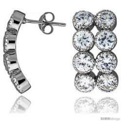 """Sterling Silver 13/16"""" (21 mm) tall Jeweled Post Earrings, Rhodium Plated w/ 8 (5 mm) High Quality CZ Stones"""