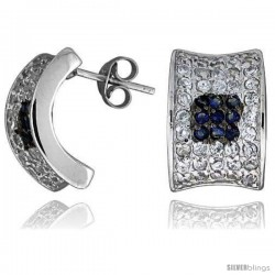 "Sterling Silver 5/8"" (16 mm) tall Jeweled Post Earrings, Rhodium Plated w/ High Quality Blue & White CZ Stones"