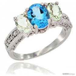 14k White Gold Ladies Oval Natural Swiss Blue Topaz 3-Stone Ring with Green Amethyst Sides Diamond Accent