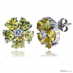 "Sterling Silver Flower Stud Earrings w/ Heart-shaped Yellow Topaz-colored CZ Stones, 1/2"" (12 mm) tall"