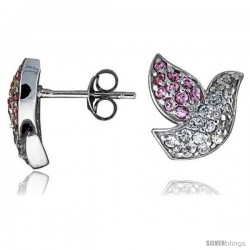 "Sterling Silver 1/2"" (13 mm) tall Jeweled Dove Post Earrings, Rhodium Plated w/ High Quality Pink & White CZ Stones"