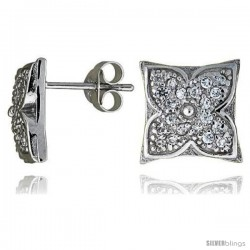 "Sterling Silver 7/16"" (11 mm) tall Jeweled Flower Post Earrings, Rhodium Plated w/ High Quality CZ Stones"