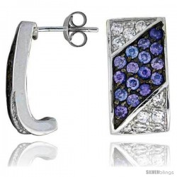 "Sterling Silver 3/4"" (19 mm) tall Jeweled Rectangular Post Earrings, Rhodium Plated w/ High Quality Synthetic Amethyst & White"