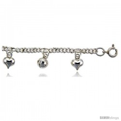 Sterling Silver Anklet w/ Hearts and Chime Balls