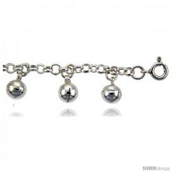 Sterling Silver Rolo Anklet w/ Chime Balls