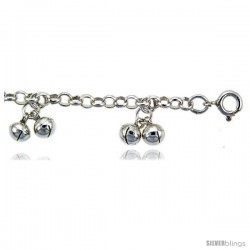 Sterling Silver Rolo Anklet w/ Clustered Chime Balls