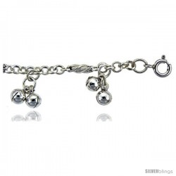 Sterling Silver Anklet w/ Clustered Chime Balls
