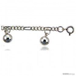 Sterling Silver Figaro Anklet w/ Chime Balls