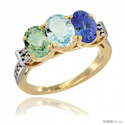10K Yellow Gold Natural Green Amethyst, Aquamarine & Tanzanite Ring 3-Stone Oval 7x5 mm Diamond Accent