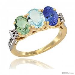 10K Yellow Gold Natural Green Amethyst, Aquamarine & Tanzanite Ring 3-Stone Oval 7x5 mm Diamond Accent