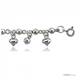 Sterling Silver Anklet w/ Beads, Hearts & Chime Balls