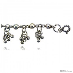 Sterling Silver Anklet w/ Clustered Beads