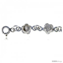 Sterling Silver Anklet w/ Rose Flower Links