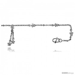 Sterling Silver Anklet w/ Teeny Flowers -Style 6ca426