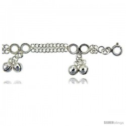 Sterling Silver Double Strand Curb Link Anklet w/ Clustered Chime Balls