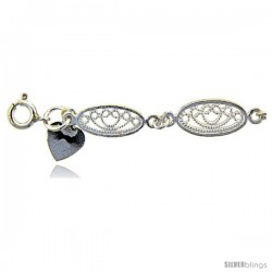 Sterling Silver Anklet w/ Filigree Oval Links
