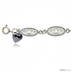 Sterling Silver Anklet w/ Filigree Oval Links