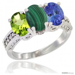 14K White Gold Natural Peridot, Malachite & Tanzanite Ring 3-Stone Oval 7x5 mm Diamond Accent