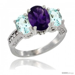 14K White Gold Ladies 3-Stone Oval Natural Amethyst Ring with Aquamarine Sides Diamond Accent