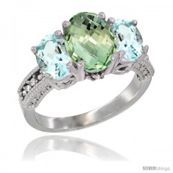 14K White Gold Ladies 3-Stone Oval Natural Green Amethyst Ring with Aquamarine Sides Diamond Accent