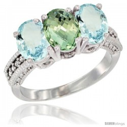 14K White Gold Natural Green Amethyst & Aquamarine Sides Ring 3-Stone Oval 7x5 mm Diamond Accent