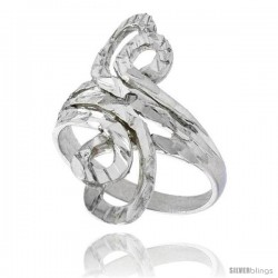 Sterling Silver Freeform Loop Ring Polished finish 1 1/8 in wide