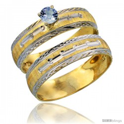 10k Gold Ladies' 2-Piece 0.25 Carat Light Blue Sapphire Engagement Ring Set Diamond-cut Pattern Rhodium Accent, 3/16 in