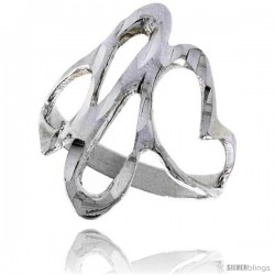 Sterling Silver Freeform Ring Polished finish 1 in wide