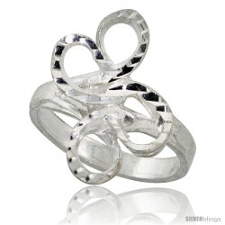 Sterling Silver Freeform Loop Ring Polished finish 7/8 in wide