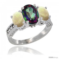 10K White Gold Ladies Natural Mystic Topaz Oval 3 Stone Ring with Opal Sides Diamond Accent