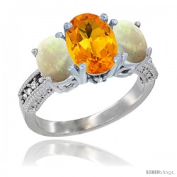 10K White Gold Ladies Natural Citrine Oval 3 Stone Ring with Opal Sides Diamond Accent