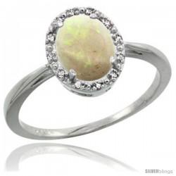 10k White Gold Opal Diamond Halo Ring 8X6 mm Oval Shape, 1/2 in wide
