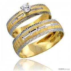 10k Gold 2-Piece Diamond Engagement Ring & Wedding Band Set his & Hers 0.10 cttw Rhodium Accent Diamond-cut Pattern, 4.5mm